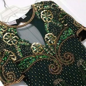 Vintage Laurence Kazar Beaded green evening dress